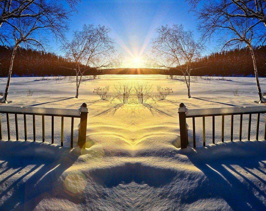 sunset, spring, melting
